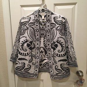 Black and White Chico's Silk-Cotton Kimono Jacket